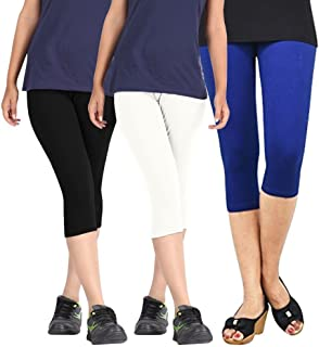 ROOLIUMS ® (Brand Factory Outlet Womens Cotton Capri Combo Pack of 3, 4 Way, 190 GSM - Free Size (Black,Sky Blue,White)