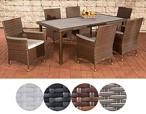 CLP Alicante Polyrattan Dining Set with Cushions | Garden Set Consisting of a Dining Table and Six Chairs Available Modern Brown mottled