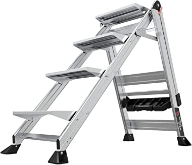 Little Giant Ladders, Jumbo Step, 4-Step, 3 foot, Step Stool, Aluminum, Type 1AA, 375 lbs weight rating, (11904), Gray