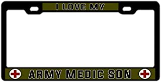 "YEX Abstract US Army Medic I Love My Army Medic Son License Plate Frame Car License Plate Covers Auto Tag Holder 6"" x 12"""