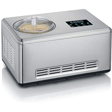 SEVERIN Sorbetière 2-en-1, 2 contenants de glace inclus (2L chacun) et 1x livre de recettes, Minuterie numérique, Ouverture du couvercle, EZ 7406