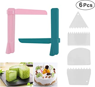 Joyoldelf 6 Pcs Cake Scraper Smoother Set, 2pcs Adjustable Cake Smoother Polisher with 4pcs Different Dough Scraper Tools for Smoothing Decorating Tools And Cakes Buttercream Edge