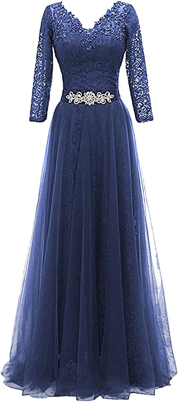 Mother of The Bride Dress V Neck Mother Dresses Long Evening Formal Gowns Lace Sleeve