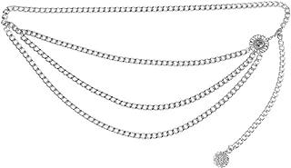 Damen Vintage Gürtel Metall Taille Kette Gürtel mit Münze Quaste Anhänger Tanzen Fransen Körper Kette modische Accessoires