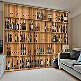 HomeAZWQ Cortinas Opacas Dormitorio Salon Moderno Adecuado para Habitaciones Infantiles Vino Vino Gabinete Pared De Fondo H245 X W340Cm