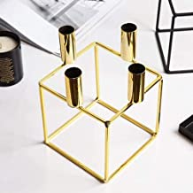 Wrought iron candlestick Geometric squares, Gold/Black candlestick lantern candle accessories interior decoration Placed O...