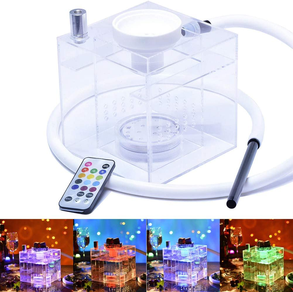 WEHOMEO Hookah San Jose Mall Set with LED Light Acry Possible Control Remote Cash special price