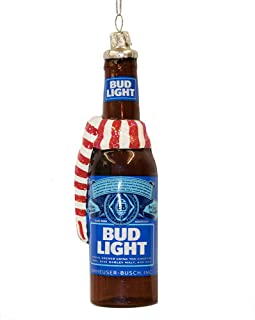 Budweiser Glass Bud Light Beer Bottle with Scarf Ornament, 5-Inch