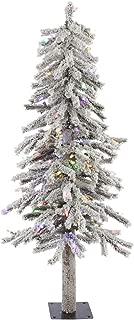 Vickerman 4' Flocked Alpine Artificial Christmas Tree with 100 Multi LED Lights