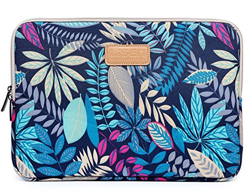 BSLVWG 10-15 inch Forest Series Pattern Water-resistant Canvas laptop sleeve for 13.3 inch laptop case macbook air 13 case macbook pro 13 sleeve ipad 12.9 (13 inch, Blue Colorful Leaves)