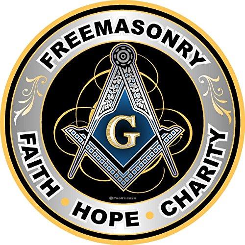ProSticker 091V (One) Masonic Series Freemasonary, Faith, Hope, Charity Compass Decal Sticker (4')