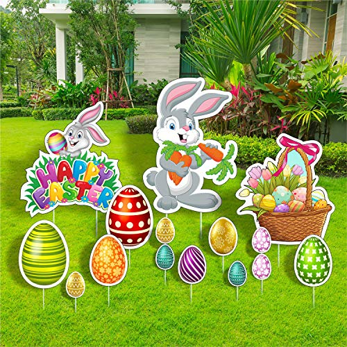 TOP4EVER Easter Yard Signs,13PCS Outdoor Lawn Decorations,Multicolored Bunny Eggs with Stakes...