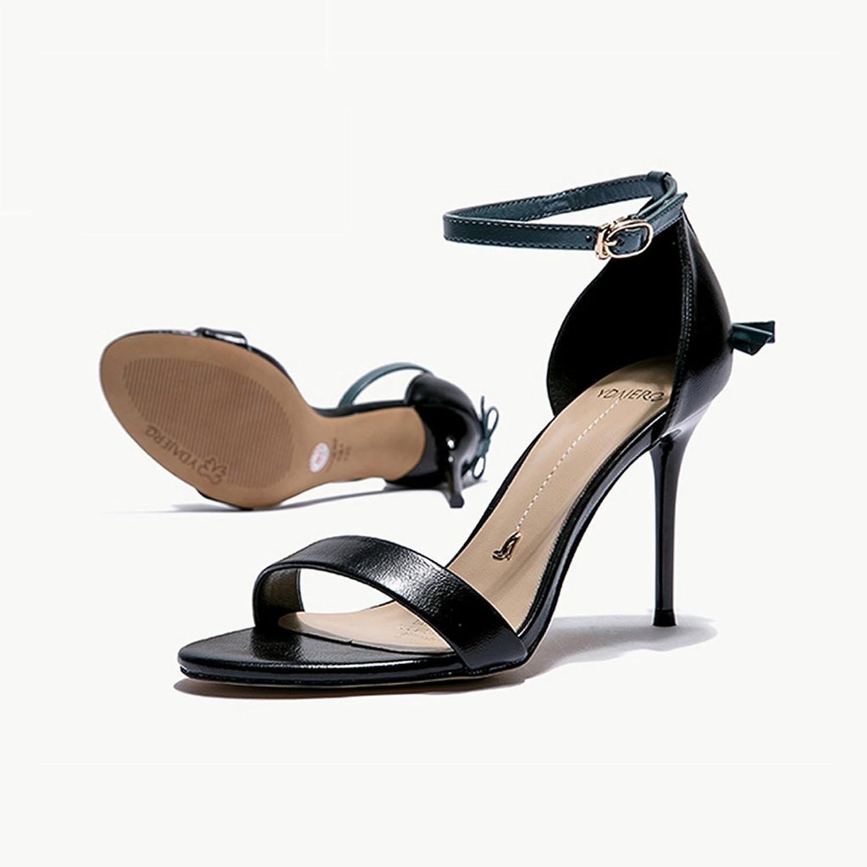 QINGTAOSHOP Damen Damen High Heels Strappy Sandalen Ankle Strap Leaky Toe Schuhe Stiletto High Heel Party Schuhe (Farbe   schwarz, Größe   35)