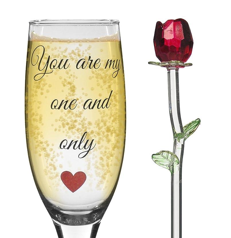 起きるバレーボールパットRomantic Champagne Flute And Crystal Red Rose Gift Set - You Are My One and Only - Standard Clear Drink Glass - Wedding Gift - 6oz by Banberry Designs