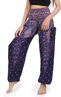 Banjamath Women's Smocked Waist Harem Hippie Boho Yoga Palazzo Casual Pants