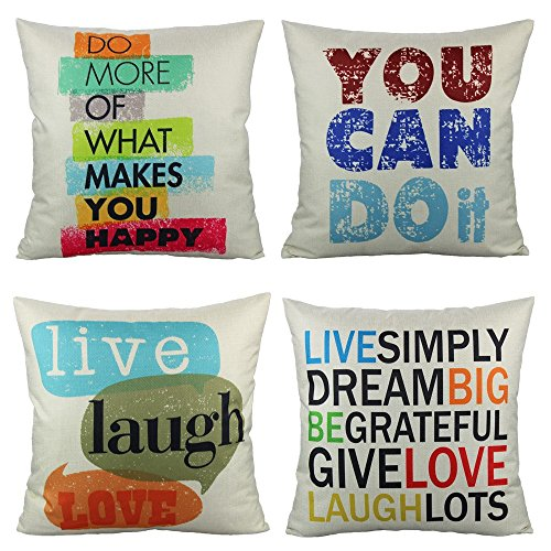 VAKADO Colorful Inspirational Quotes Outdoor Throw Pillow Covers Decorative Saying Words Letters Cushion Cases Home Decor for Patio Couch Sofa Office Furniture 18x18 Inch Set of 4