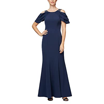 Alex Evenings Long Embellished Crepe Fit and Flare Dress