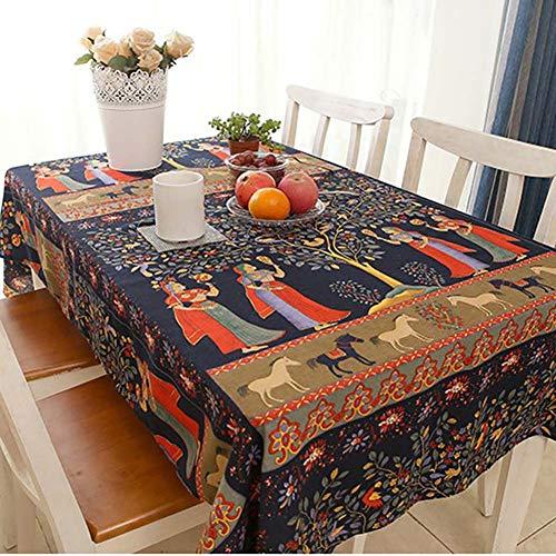 Nappe Lavable carré Coton Lin imprimé Fleur, Vintage dîner Pique-niquer Table Tissu Maison décoration sud-est Asiatique Ethnique Coton et Nappe en Lin,55x79inch(140 * 200cm)