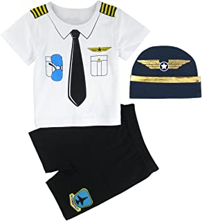 COSLAND Baby Boys' Pilot Costume Short Sleeve Outfits with Hat