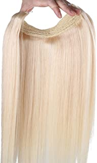 """Remeehi 15""""-24"""" Easy Wear Straight Invisible Wire Halo Human Hair Extensions One Piece 28Cm Width 80G (22"""" 1B#)"""