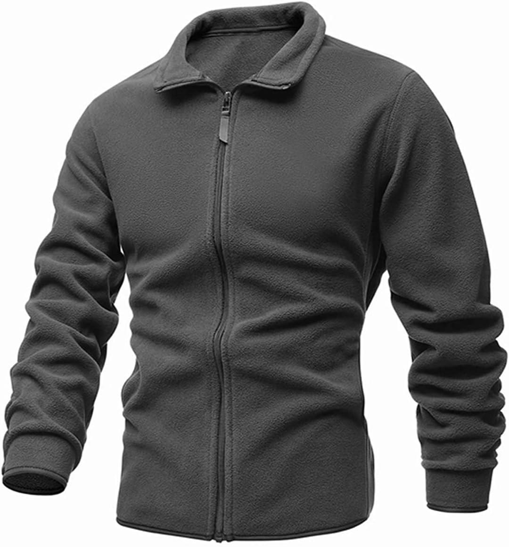 PJRYC Men's Jacket Slim Double-Faced Fleece Sweater Casual Warm Winter Coat (Color : Grey, Size : A)