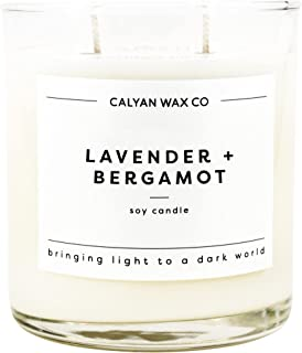 Calyan Wax Co Soy Candle, 100% Soy Wax Candle with Essential Oils & 37 Hour Burn Time, 12.5 Oz Glass Tumbler Aromatherapy ...