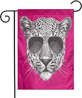 funkky Modern Garden Flag Leopard with Cool Sunglasses Premium Material 12