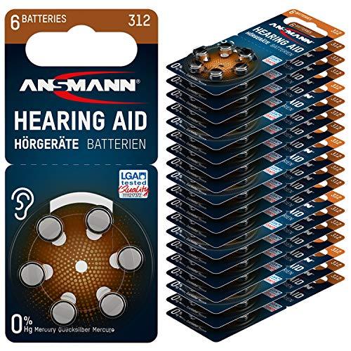 ANSMANN Typ 312 Hörgerätebatterien Braun 120 Stück - Zink Luft 1,4V Hörgeräte Batterien 312 P312 ZL3 PR41 - Knopfzelle geeignet für Hörgerät Hörverstärker & Hörhilfe
