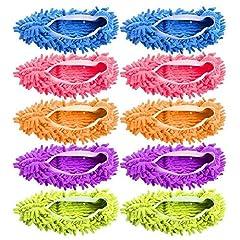 Idea Regalo - Gspirit 10 pz 5 Paia Duster Mop Pantofole Scarpe Copertura, Multi Funzione Ciniglia Fibra Lavabile Piano Pulizia Scarpe per Bagno Ufficio Cucina Casa Lucidatura Pulizia, (5)
