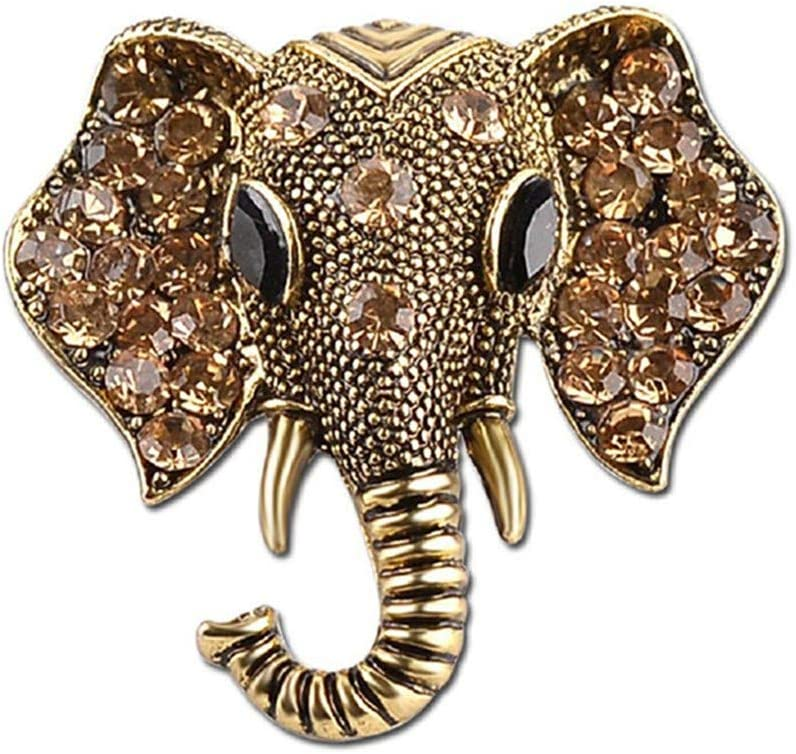 WEILYDF Elephant Brooches Luxury Retro Brooch Pin Jewelry Gifts for Women Elegant Lucky Animal Brooch for Dress Suit