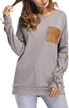 LBPSUUEW Women Long Sleeves Tops Autumn Casual O-Neck Hand Cuff Strap Pocket Blouse Elegant Sweatshirt