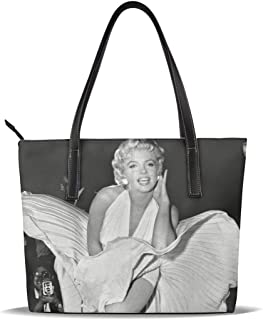 Cuero Bolso Mar-ilyn Mo-nroe Statue Leather Tote Shoulder Bags Handbags For Women Girl Or Student