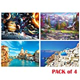 Jigsaw Puzzles Pack of 4 - Each 1000PCs, Joopee Puzzle for Adults Kids - Educational Intellectual Decompressing Fun Family Game