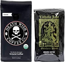 Death Wish & Valhalla Java Ground Coffee Bundle Deal, USDA Certified Organic & Fair Trade (1 of Each Bag)