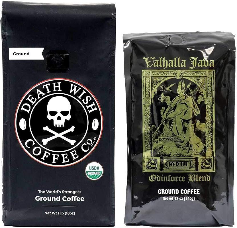 Death Wish Valhalla Java Ground Coffee Bundle Deal USDA Certified Organic Fair Trade 1 Of Each Bag