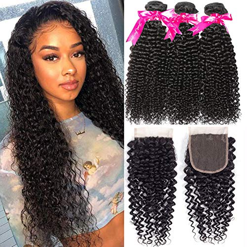 Flady Brazilian Curly Hair with Closure 10a Unprocessed Brazilian Virgin Hair 3 Bundles with Free Part Closure Natural Black Human Hair Bundles With Closure (20 22 24+18inch)