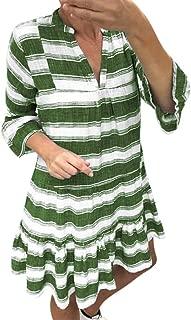 ZSBAYU Women's Striped Print Short Dress Loose Long Dress, Casual Ruffle Kaftan Sundress Three Quarter Sleeve Mini Dress