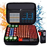 Fireproof Battery Organizer Storage Case Waterproof & Explosionproof, Safe Bag Fits 210+ Batteries Case - with Tester BT-168, Carrying Container Bag Energy Batteries AA AAA C D 9V Lithium 3V Holder