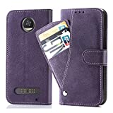Asuwish Moto Z2 Play/Z2 Force Wallet Case,Luxury Leather Phone Cases with Credit Card Holder Slot Kickstand Stand Wireless Charging Rugged Flip Folio Protective Cover for Motorola Moto Z2play Purple