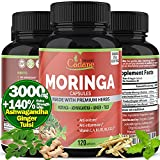 Organic Moringa Powder Capsules 3000mg with Ashwagandha, Ginger, Tulsi Extract   Multi Nutrition Vitamin Oleifera Leaf   Supports Immune System, Energy Booster  Anti-Inflammatory Supplements, 120Caps
