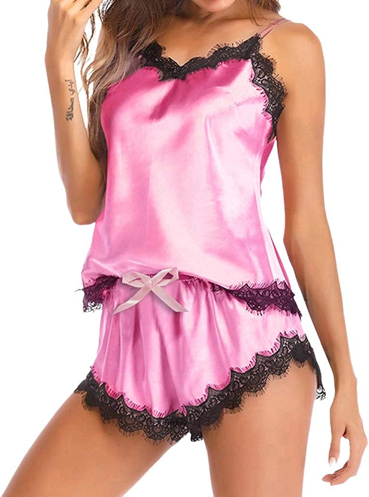 Womens Satin Silk Lingerie Sleepwear Nightwear Strap Lace Trim Satin Cami Top Shorts Pajama Sets