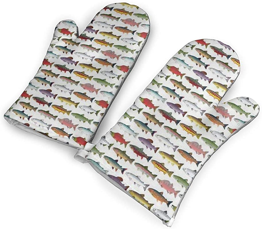 HEEHEE Rainbow Colored Trout And Salmon Oven Mitts And Potholders Kitchen Counter Safe Mats Advanced Heat Resistant Oven Mitt Non Slip Textured Grip Pot Holders