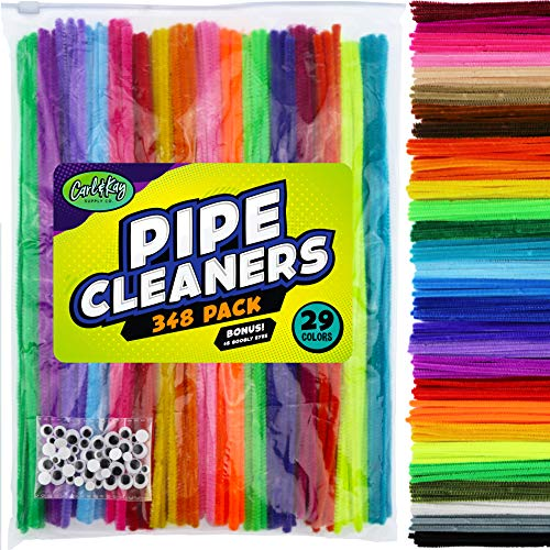 Carl & Kay 348 Pipe Cleaners [Bonus: 48 Googly Eyes] in a Zipper Storage Bag, Chenille Stems in 29 Colors for DIY Art, Creative Kid's Gift, Assorted Fuzzy Craft Sticks, Children's Craft Supplies