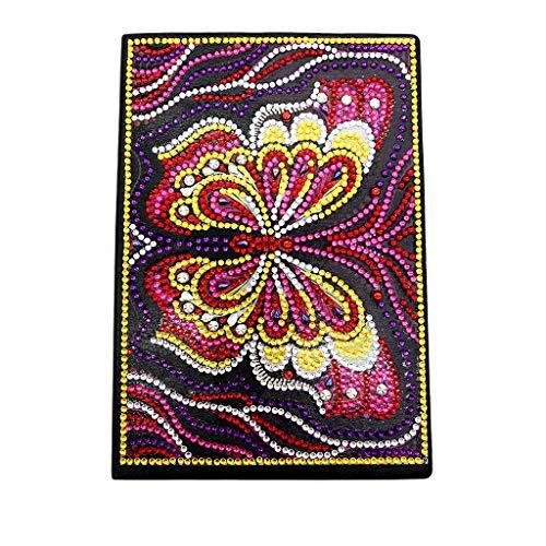 DIY Diamant Malerei Kreuzstich A5 Softcover Notebook Blanko, Schreiben Notizbuch Reisen Notebook Geheim Tagebuch Skizzenbücher für Erwachsene Notizblöcke Individuell Kreative Geschenk Schmetterling