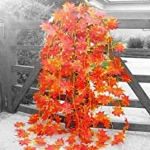 Logro Artificial Hanging Vines/Bells|| Approx Length 7 ft (Set of 4pc, Orange Maple Leaves)