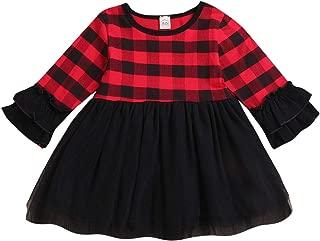 Toddler Baby Girls Dress Long Sleeve Red Plaid Mesh Skirt