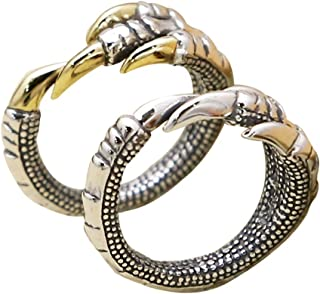 Vintage 925 Sterling Silver Dragon Claw Pinky Ring for Men Women Adjustable Size 6.5-8