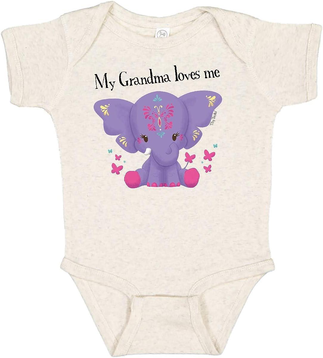 inktastic Super popular specialty store Yara Grandma Loves Me - Purple Cheap mail order sales Infant Creeper Elephant