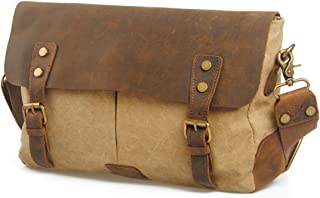 Mens Bag Vintage Canvas Briefcase Crossbody Day Bag for School and Work Men's Messenger Shoulder Bag High capacity