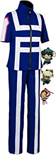 ZeroGoo Bnha Mha My Hero Academia Cosplay UA Gymnastics Uniform Costume,with 3 Pack Deku Izuku Bakugou Uraraka Keychains